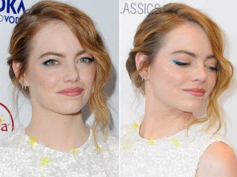BLÅ EYELINER: Emma Stone så sommerlig og trendy ut med blå eyeliner.