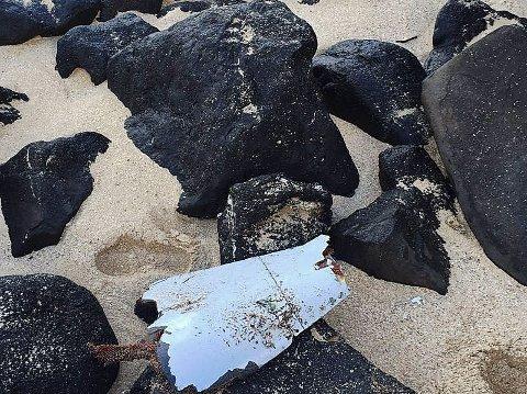 FUNNET VRAKDELER: Så langt er det funnet over 20 vrakdeler langs strender i Mosambik, Tanzania, Sør-Afrika, Ile de Reunion og Mauritius. Denne delen ble funnet på Mauritius.