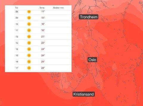 SOL OG VARME: Buskerud, Telemark og Agder er blant stedene som har godvær og varme i vente til helgen. Temperaturprognosen (innfelt) gjelder Drammen lørdag.