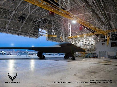 STRATEGISK BOMBEFLY: Det amerikanske flyvåpenet får innen få år stealth-bombeflyet B-21 Raider i sitt arsenal. Produsenten Northrop Grumman har publisert ny informasjon om flyet for første gang på fire år. Her er B-21 tegnet inn på flybasen Ellsworth.