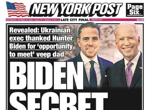 Det var i midten av oktober, bare tre uker før valget, at New York Post hadde det omstridte oppslaget om Hunter Biden som etablerte medier ikke ville røre.