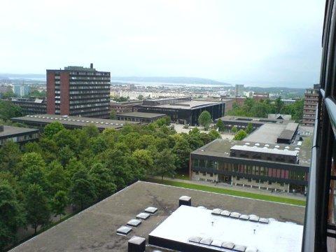 Et automatvåpen ble fredag funnet på Blindern, i bygget vi ser taket av nederst på dette bildet. ARKIVFOTO
