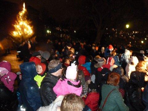 Da regnet og vinden kom minnet det mer om høst enn snart jul i Vålerengaparken. Men om lag 500 fremmøtte gjorde sitt for å få frem julestemningen.
