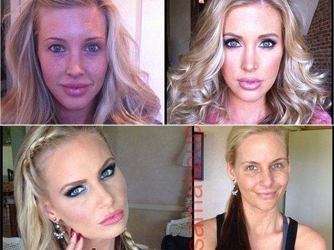 En ny bildeserie viser hvordan en rekke kjente pornostjerner ser ut uten sminke.