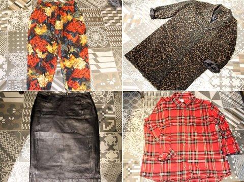 TRENDPLAGGENE: Løs, mønstret bukse, oversized kåpe, skinnskjørt og rutaskjorte.