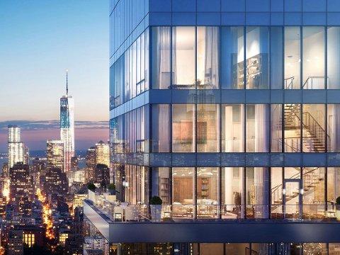 ENORM: Leiligheten på Manhattan i New York er på 930 kvadratmeter og strekker seg over fire etasjer.