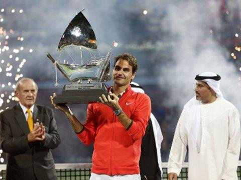 VANT: Roger Federer vant ATP-turneringen i Dubai for sjette gang.