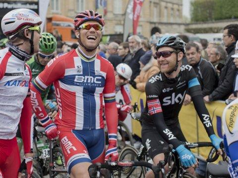 LEGGER OPP: Sky-rytter Gabriel Rasch (t.h.) har syklet sitt siste ritt som proffsyklist. Her er han sammen med Thor Hushovd og Alexander Kristoff før start.