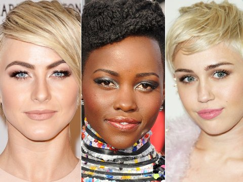 KORTE FRISYRER: Julianne Hough, Lupita Nyong`o og Miley Cyrus har klippet av seg lokkene.
