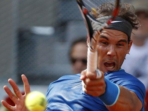 OVERLEGEN: Rafael Nadal herjer i tennisturneringen i Madrid.