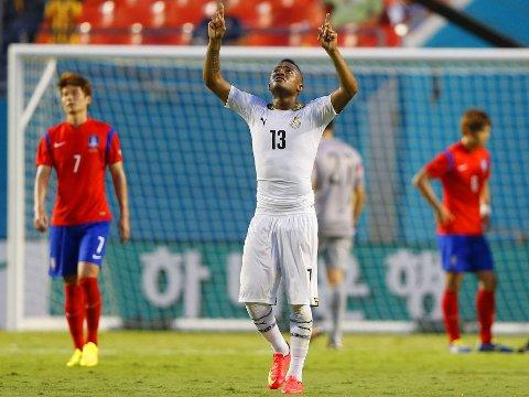 TRE FULLTREFFERE: Jordan Ayew og Ghana viste svært gode takter i sin siste testkamp i oppkjøringen før VM.