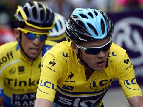 DOPINGFRITT: Johan Kaggestad tror på et dopingfritt Tour de France. Her kjemper to av de største sammenlagtfavorittene, Chris Froome og Alberto Contador, mot hverandre i et etapperitt tidligere i år.