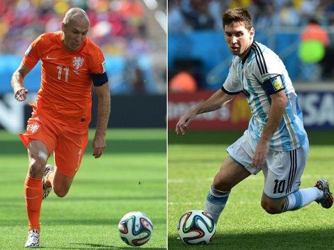 HVEM ER BEST? Nederlendere og argentinere er ikke enige om hvem av Arjen Robben og Lionel Messi som er verdens beste spiller.