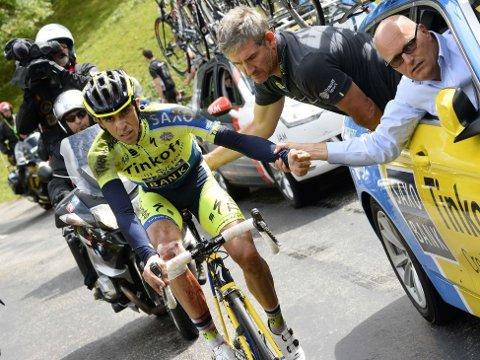 BRAKK LEGGBEINET: Alberto Contador tror ikke han rekker Vuelta a España etter at han brakk leggebeinet under Tour de France.