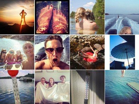 Hetebølge, sommeren 2014. Bilder hentet fra Twitter og Instagram torsdag 24. juli.