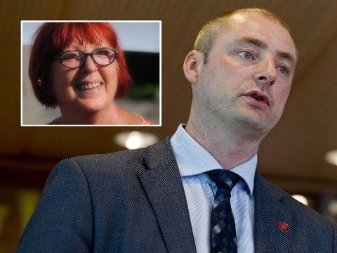 UENIGE: Johanna Engen, styreleder i Velferdsalliansen (innfelt), og arbeids- og sosialminister Robert Eriksson (Frp), er dypt uenige om effekten av den nye uførereformen.