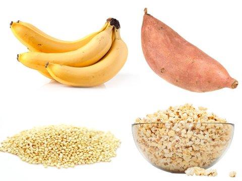NÆRINGSRIKE KARBOHYDRATKILDER: Banan, quinoa, søtpotet og popkorn er matvarer som bidrar med gode karbohydrater.