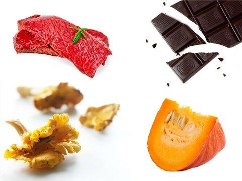 DEILIG HØSTMAT: Reinsdyr, gresskar, kantareller og mørk sjokolade.
