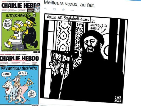 SATIRE: Magasinet Charlie Hebdo har tradisjon for å sparke i mange retninger - blant annet mot religioner.