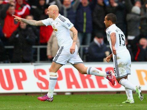 VIKTIG MANN: Ved begge Swansea-målene mot Manchester United var tidligere Liverpool-spiller Jonjo Shelvey nest sist på ballen.