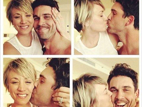 LYKKELIG GIFT: Kaley Couco og ektemannen Ryan Sweeting ser ikke ut til å ha store ekteskapsproblemer, som tidligere hevdet.