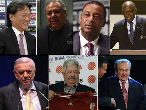 ARRESTERT: Eduardo Li, Julio Rocha, Jeffrey Webb, Jack Warner, Jose Maria Marin, Rafael Esquivel og Nicolas Leoz er blant de arresterte.