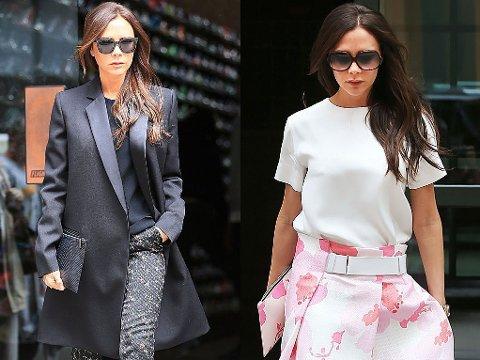 ULIKE STILER: Victoria Beckham har vist høyst ulike stiler under sitt opphold i New York, både av egen og andres design.