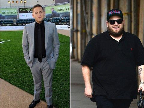 JONAH HILL har gått opp og ned i vekt de siste årene, men nå er vennene bekymret for helsen hans. Bildet til venstre er fra 2011, bildet fra høyre er fra juli i år.