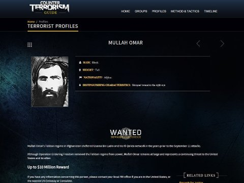 Etterlysning fra National Counterterrorism Center på Mullah Omar.