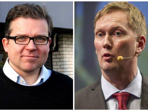VIL STYRE UT AV UFØRET: Byrådsleder i Bergen, Høyres Martin Smith-Sivertsen (til venstre) og Arbeiderpartiets byrådslederkandidat, Harald Schjelderup.