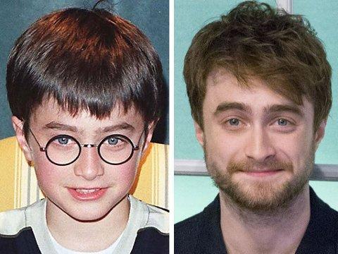 FØR og SENERE: Daniel Radcliffe ble kjent i svært ung alder, som Harry Potter. I voksen alder har han de siste årene vært glad i skjegg og rufsete sveis - men for filmen Imperium har han gått drastisk til verks med utseendet.