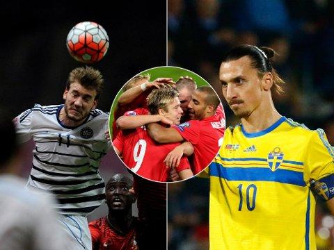MULIG EM-MOTSTAND: Niklas Bendtner (venstre) eller Zlatan Ibrahimovic (høyre) kan bli Norges motstander i en eventuell play off i EM-kvalifiseringen.