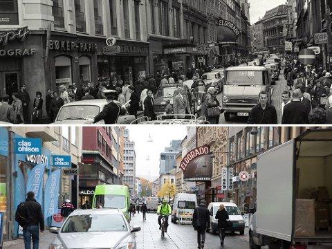 FØR OG NÅ: 51 år skiller disse bildene fra Torggata i Oslo, som i mellomtiden er blitt gågate. Arbeiderbladets bilde er fra august 1964. Nettavisen-fotograf Paul Weaver tok sitt bilde tidligere denne uka.