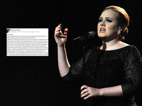 BRIT AWARDS: Adele fremfører «Someone Like You» på Brit Awrards i 2011, og begynner å gråte på scenen. Stephanie sang samme sang i stua si, også gråtende. Les det fantastiske brevet hennes til Adele tre år etterpå.