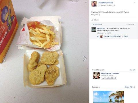 HAPPY MEAL: Denne boksen Happy Meal fra McDonalds kjøpte Lovdahl for seks år siden.