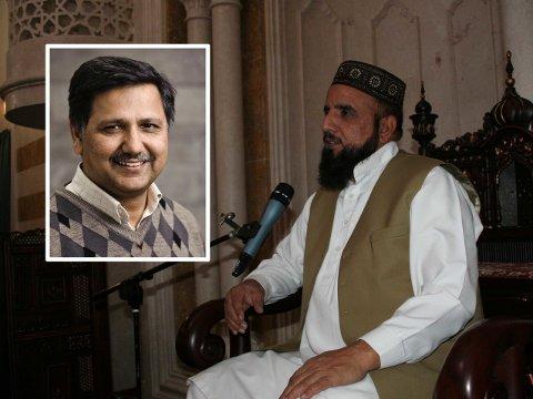 FORVENTER OPPVASK: Ap-politiker Khalid Mahmood (innfelt) tar sterk avstand fra imam Nehmat Ali Shahs deltakelse i en demonstrasjon til støtte for den henrettede Mumtaz Qadri, mannen som i 2011 drepte guvernør Mumtaz Qadri.