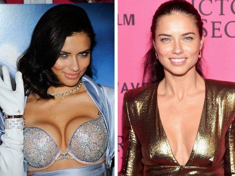 MED ELLER UTEN: Modell Adriana Lima - med Victora's Secrets push up på (t.v om du lurte) og på fest etterpå uten undertøyet på.