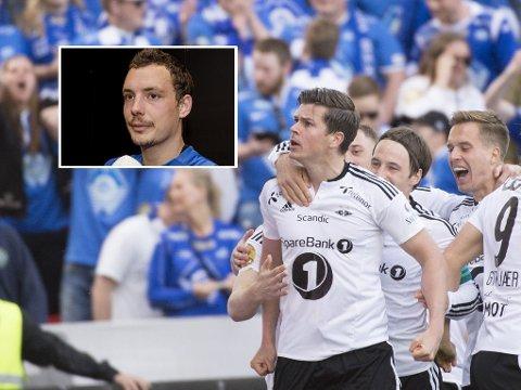 FIKK KJAPT SVAR: Landslagstopper og Molde-spiller Vegard Forren (innfelt) kunne hatt en heldigere inneldning på lørdagens storoppgjør mot Rosenborg barndomskompis Pål André Helland.