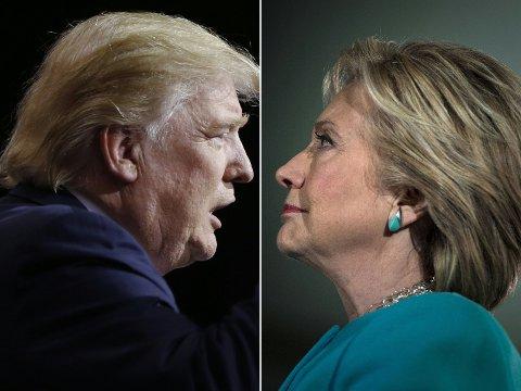 VALGDAG: Republikanernes presidentkandidat Donald Trump og demokratenes presidentkandidat Hillary Clinton. 8. november er det valgdag i USA.