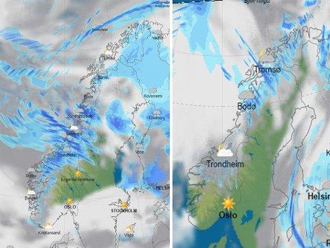 MYE VÆR: Det er meldt storm i fjellovergangene, temperaturene synker og det samme gjør snøgrensa. Men søndag kveld har det stort sett roet seg.