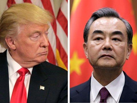 USAs påtroppende president Donald J. Trump og Kinas utenriksminister Wang Yi.