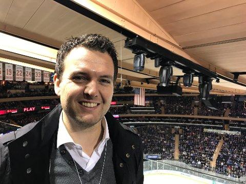 STAVANGER OILERS-manager Pål Haukali Higson var til stede i Madison Square Garden lørdag.