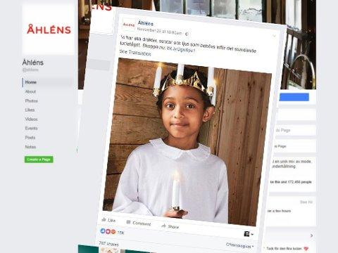 Dette var kalenderbildet som vekket reaksjoner - og motreaksjoner i Sverige. Bildet er hentet fra Åhlens Facebook-side.