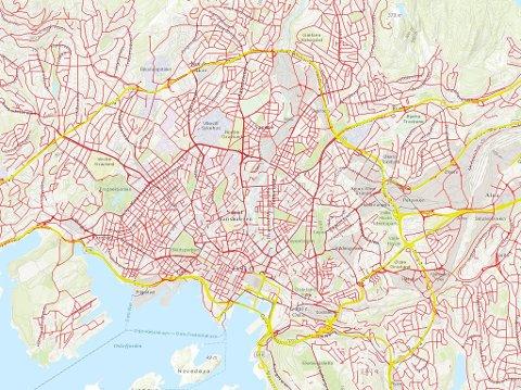 DIESELFORBUD: De røde veiene har forbud mot dieselbil, de gule er lovlige.