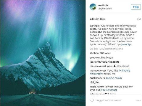 EVENTYR: Da bildet ble publisert på Instagram-kontoen Earthpix tok det av for Even Tryggstrand.
