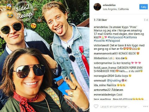 Erlend Elias hadde trolig en utrolig gøy 17.mai-feiring i Los Angeles, sammen med blant andre Marius Høiby og DJ Kygo (Kyrre Gørvell-Dahll).