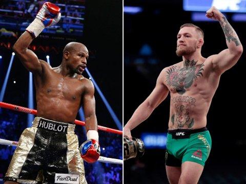 REALISTISK DRØM: Drømmefighten mellom Floyd Mayweather (venstre) og Conor McGregor (høyre) kan bli til virkelighet, etter at sistnevnte har undertegnet en kontrakt som muliggjør kampen.