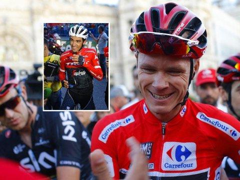 MESTER I SKYGGEN? Chris Froome oppnådde noe ingen har klart på nesten 40 år da han spikret seieren i Vuelta a Espa´na søndag. Likevel fikk Alberto Contador (innfelt) mye av oppmerksomheten i Madrid.