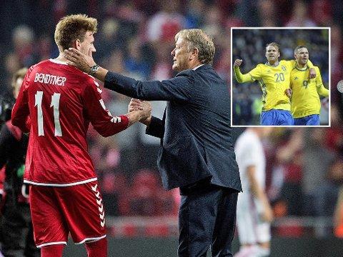 DANMARK og Åge Hareide, her sammen med Rosenborg-spiss Nicklas Bendtner, ser heller i andre retninger enn mot svenskene om de skal plukke en ønskemotstander. Sveriges Ola Toivonen og Marcus Berg innfelt.