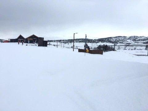 SNØFALL: Rundt 10 centimeter snø hadde lagt seg på Vierli i Rauland i Telemark søndag morgen.